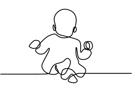 Continuous single drawn one line baby eating biscuits. The child eats his own. Baby holds food with his hands. Happy eating baby. Vector illustration 矢量图像