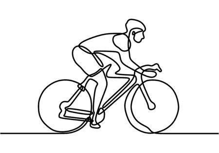 Un disegno a tratteggio o una linea continua di un atleta della bicicletta. Professionale. Ciclista a tema sportivo. Atleta in bicicletta o ciclista che guida per strada. Illustrazione di vettore.