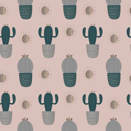 Seamless pattern with cactus. Gold pattern with '20s retro colors. Elegant design vector illustration for fashion textile print.