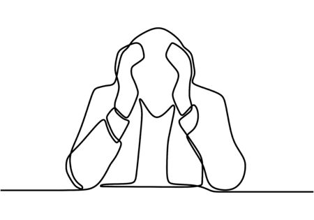 One continuous line drawing of young stressed male worker. young depressed sales manager sitting and holding head. He get sacked.Job dismissal concept continuous line draw design illustration
