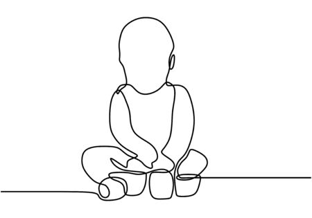 Continuous single drawn one line baby eating biscuits. The child eats his own. Baby holds food with his hands. Happy eating baby. Vector illustration Illustration