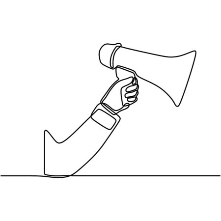 One line drawing of horn speaker hold by hand. horn speaker for communication. Shouting loudly using megaphone to speak. Public speaking practice concept one line draw design illustration