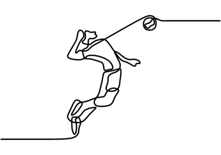 Single continuous line drawing of male young volleyball athlete player in action jumping spike on court. Vector illustration minimalism concept, sport theme.