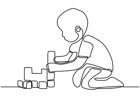 Continuous line of boy sitting and playing happily to plastic construction toy blocks. Playing lego. Learn to arrange lego. Vector illustration Vectores