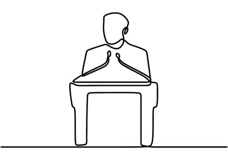 One continuous single drawn line art doodle conference. Speech concept with a man on podium, vector illustration minimalism. Illustration