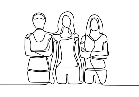 continuous line drawing of three standing women. Hand drawn confident girls. Not afraid of anything. Strong woman. Vector illustration