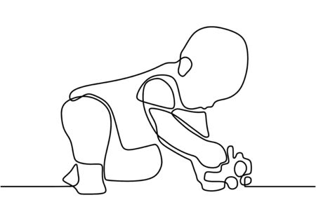 Continuous single drawn one line a boy playing with his toy car pushing a toy. Playing car toy in his room. Happy and enjoy playing car toy. Vector illustration Illusztráció