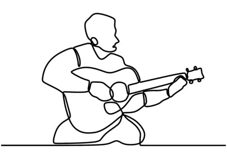 Continuous lines man playing guitar. Playing guitar and singing the song. Professional guitarist. Love music. Guitar instruments, instrumental music, simple style, hand-drawn vector illustration