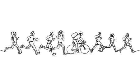 People running continuous one line drawing minimalism design vector illustration. People in marathon competition. There is a man riding bicycle between marathon team. Sport competition concept.