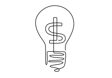 Continuous one line drawing light bulb symbol idea and creativity. Dollar on light bulb. Concept of idea emergence. Finding solution. Vector illustration minimalist design on white background.