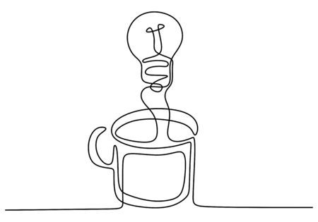 Continuous one line drawing light bulb symbol idea and creativity. Concept of idea emergence. Finding solution with a glass of coffee. Vector illustration minimalist design on white background. Иллюстрация