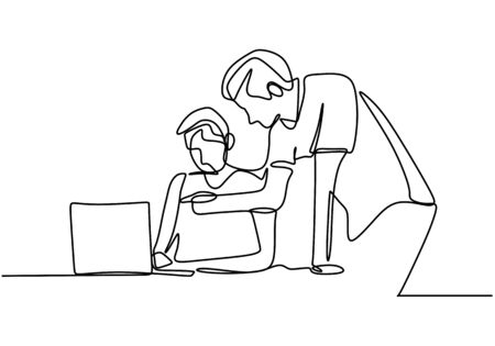 Continuous line drawing of two men discussing work task on laptop computer. Young another man teach to analyze data from database. Two persons talking each other. Vector illustration