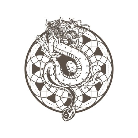 Dragon drawing vector illustration, ancient mandala spiritual. Snake asian dragon monster. Mythology animal character isolated on white background.
