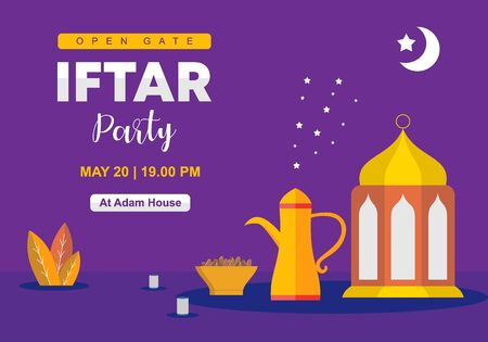 Iftar party celebration concept banner. Vector Illustration. Sweet Dates, good for flyer and poster promotion. Islamic design element for Ramadan month with text template. Flat design style.