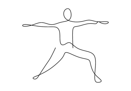Continuous line drawing of men fitness yoga concept vector health illustration. Beautiful girl doing yoga exercise. Pose standing with hands stretched. Charging. Line art. Character female athlete
