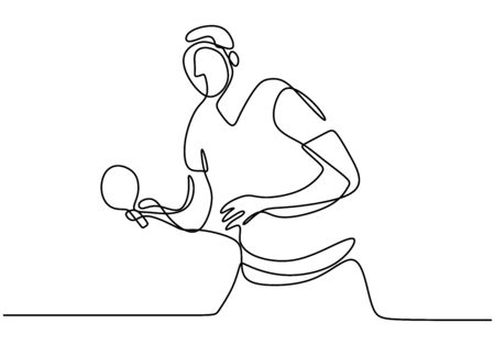 One single line drawing of young energetic man table tennis player ready to hit the ball vector illustration. Sport exercise concept.
