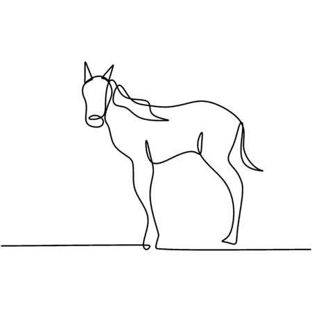 Continuous one line drawing. Elegance pony horse mammal animal. Isolated standing horse on black and white vector illustration. Concept for logo, card, banner, poster, flyer