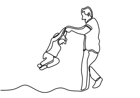 One single line drawing of young happy father raising and turning her daughter around up in the air at home vector illustration. Dad plays with a child. Character a man plays with his daughter
