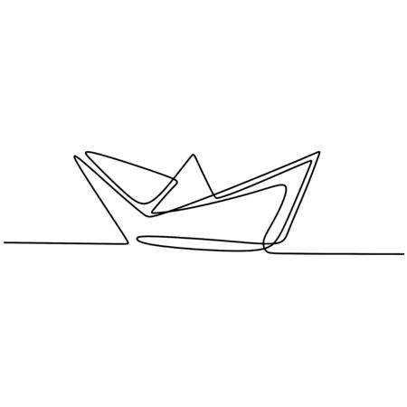Continuous one drawn line of paper ship isolated on white background. Origami ship boat business icon concept drawn by hand picture silhouette. Vector design illustration Ilustración de vector