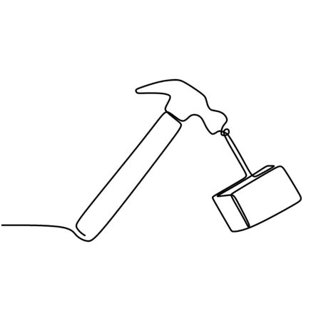 One single line drawing of hammer steel. Wooden hammer isolated on a white background. Handyman tools concept. Retro design. Continuous line draw vector design illustration