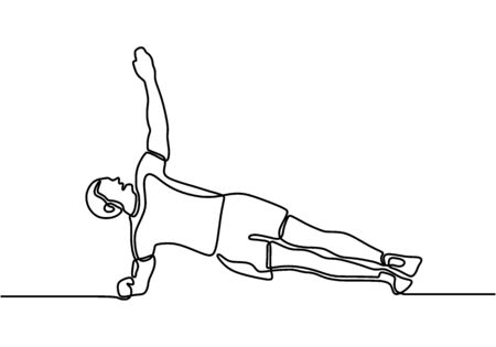 Continuous line drawing of man stretching. Young energetic male exercise side plank in gym fitness center vector illustration. Healthy fitness sport concept. Isolated on white background.  イラスト・ベクター素材