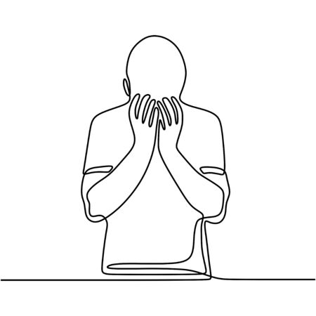 Continuous line drawing of exhausted sad young man covering his face by hands. Male suffering from depression. Man in despair sitting on the ground. Frustration and depression person concept. Illustration