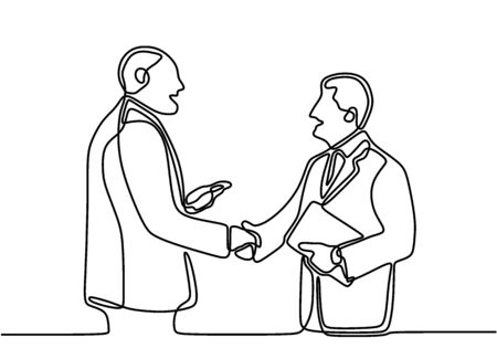 Single line drawing of businessman handshaking his business partner. Two smiling business worker shaking hands together to seal a deal with his partner. Template for your design works.