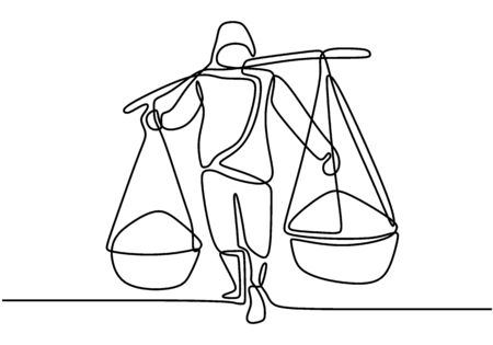 One single line drawing of young construction builder carrying material sand on his shoulders. Craftsman home repair service concept. Continuous line draw vector design illustration