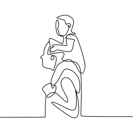 Continuous one line drawing. Family concept. Small girl is sitting on his father shoulders. Character happy dad walks with the child on his shoulders. Vector design illustration on white background