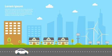 Eco city concept vector. Illustration of building, house, and renewable energy concept, solar and wind power. City car around the street. Good for banner, poster, background, and landing web page. Standard-Bild - 147260750