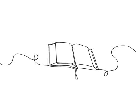 One line drawing, open book. Book on the table and ready to read. Concept of study, education and knowledge. Vector object illustration, minimalism hand drawn sketch design. Фото со стока - 147260746