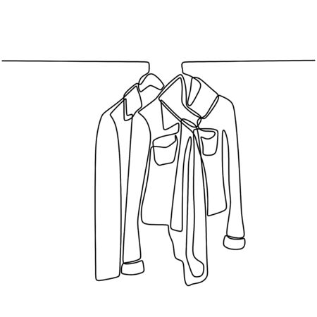 One line drawing of blouse, suits, shirt, and t-shirt hanging on rack for sale in store. Minimalistic style of fashionable business clothes. Continuous vector background with clothes and hangers.