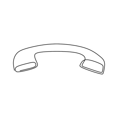One line drawing of isolated vector object phone receiver. Telephone icon isolated on white background. Vector illustration for banner, web, design element, template, postcard.
