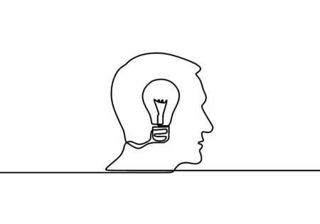 Continuous one line drawing light bulb symbol idea. Thinking ideas inside the person's head. Concept of idea emergence. Vector illustration isolated design on white background.