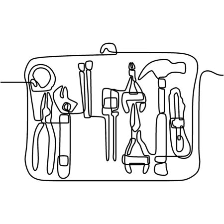 Continuous one line drawing building tool. Isolated image of a hand drawn outline on a white background. Set of mechanic and handyman tools concept. Simple one line drawing building tools