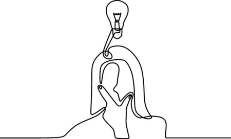 Continuous single drawn one line light bulb. Young girl thinking and holding her chin using hands. Idea and creativity symbol with lamp and hand. Character girl in the lamp as an energy.