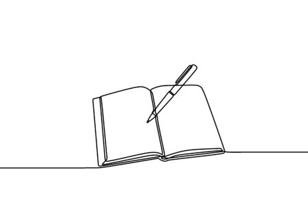 One line drawing, open book. Book on the table and ready to read. Concept of study, education and knowledge. Vector object illustration, minimalism hand drawn sketch design. Иллюстрация