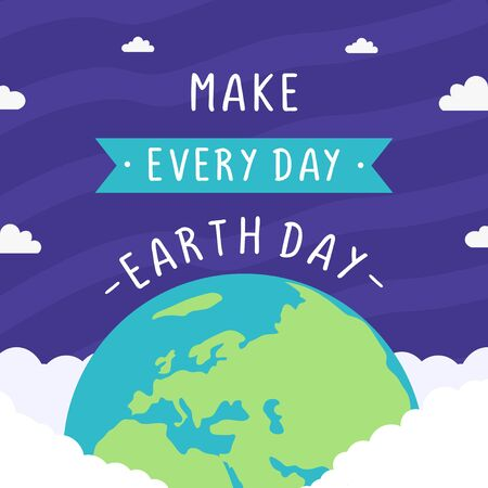 Happy earth day celebration design. Environment and ecology theme banner, poster, and background. World map background vector illustration. Make everyday earth day.