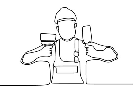 Single continuous line drawing of young handyman wearing building construction uniform and helmet while holding paint brush and paint roller. Painter wall renovation service concept.