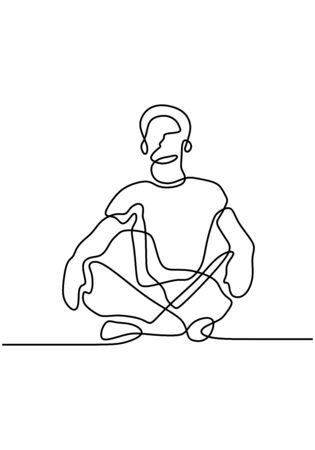 Continuous line art or one line drawing of man doing exercise in yoga pose. Sitting with cross leg. Yoga lotus pose. Young male practice yoga for meditation. Illustration of person on meditation.