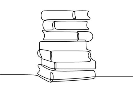 One line drawing of pile of books. Stack of book on desk. Tidy books lined up. Happy study with reading the book. Single hand drawn continuous contour art, vector illustration minimalist design.