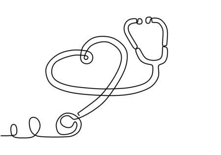 One single line drawing of medicine stethoscope. Health care World Day medical science research doctor nurse equipment silhouette concept design one sketch online drawing white vector illustration Illustration