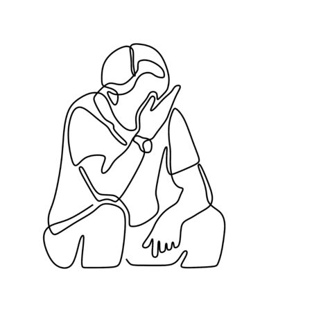 Continuous line drawing of exhausted sad young man covering his face by hands. Male suffering from depression. Man in despair sitting on bench. Frustration and depression person concept.