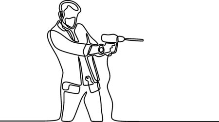 One single line drawing of young handyman wearing mask while holding drill machine. Handsome handyman using drill machine to drilling wooden wall. Repairman construction maintenance service concept Vetores