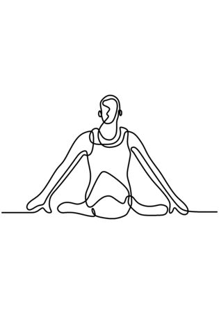 Continuous one line man doing yoga exercise. Yoga sitting pose. Legs are folded and arms are straightened to the side. Relaxation, concentration and calming. Stock vector illustration.