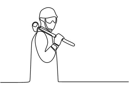 Single line drawing of young construction worker carrying big hammer on his shoulders. Handyman wearing helmet to safety work. Building tools constructor concept continuous line draw design.