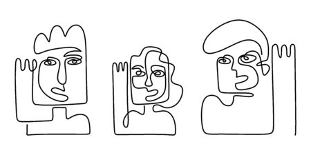 Abstract face one line drawing. Modern faces and hairstyle, fashion concept, woman or man. Set of three abstract face. Portrait minimalistic style. Fashion model with a white background. Vector. 版權商用圖片 - 147499759