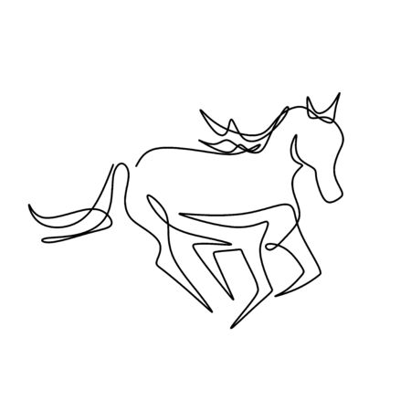 Continuous one line drawing. Elegance pony horse mammal animal. Isolated running horse on black and white vector illustration. Concept for card, banner, poster, flyer Illustration