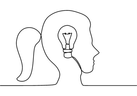 One line continuous draw woman with a light bulb. Electric light bulb symbol idea. The concept of thinking ideas inside the person's head. Trendy flat vector on white background.