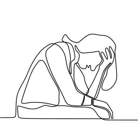 Continuous line drawing of man in depression. Sad old male sitting alone with headache touching forehead on white background. Man in despair and confused concept. Vector illustration design